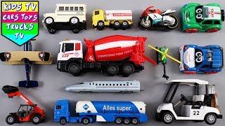 Learn Vehicles For Kids | Cement Mixer Trailer Truck Bullet Train London Taxi School Bus | Kids TV