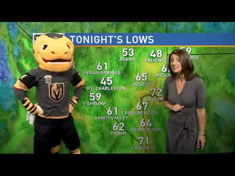 Golden Knights mascot Chance helps with the forecast
