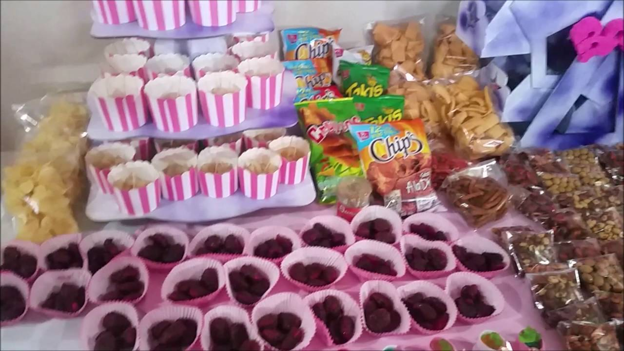 Mesa de dulces baby shower youtube for Ideas para mesas dulces
