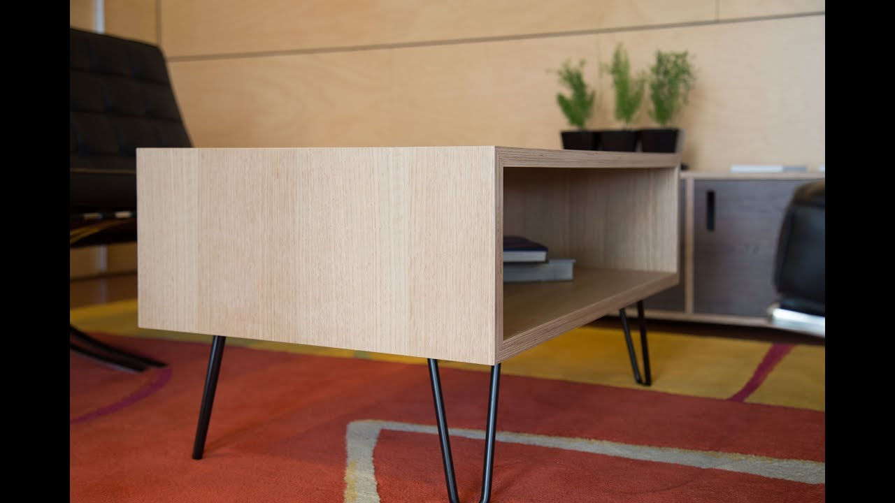Oak plywood coffee table with hairpin legs youtube for Plywood table hairpin legs