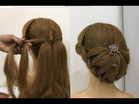 New Hairstyle for party or wedding with trick | cute Girls hairstyles | bun hairstyles | hairstyle thumbnail
