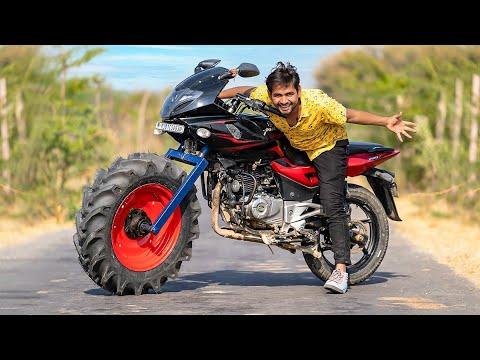 Monster Tractor Tyre In Bike - गाड़ी मे लगा दिया ट्रैक्टर का टायर। Will It Work ?