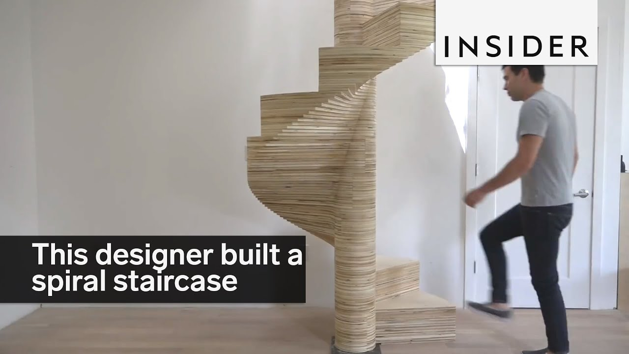 this designer built an awesome spiral staircase out of plywood
