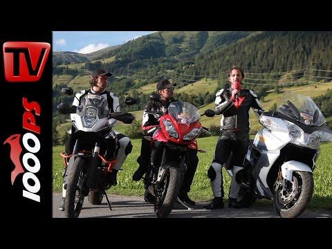 KTM Adventure R vs Thriumph Trophy SE vs Tiger Sport-Vergleich in den Alpen