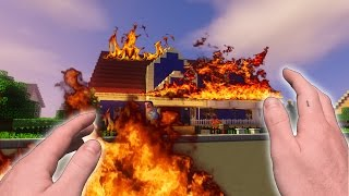 Minecraft Realistic: Hello Neighbor - BURNING DOWN THE NEIGHBORS HOUSE!