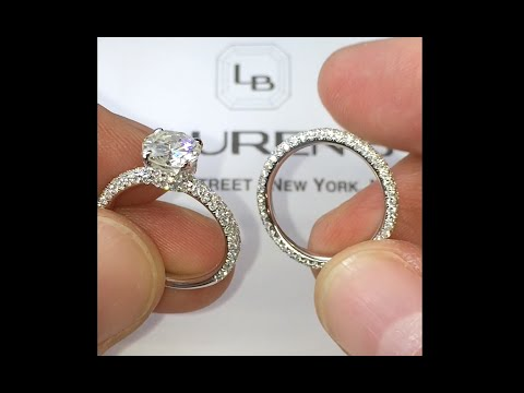 2 Row Pave Eternity Round Diamond Engagement Ring