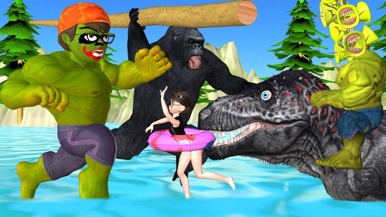 Scary Teacher 3D Giant NickJoker vs Kong Gorilla Rescue Tani in Pool with Giant Siren Head Ride Dino
