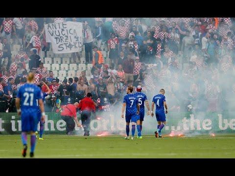 Crowd Fireworks in Croatia vs Czech Republic Match UEFA 2016