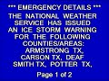 EAS: Ice Storm Warnings in Amarillo & Lubbock, TX