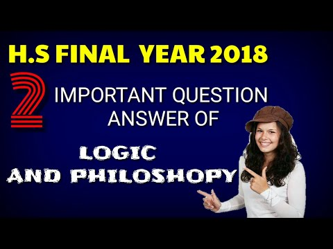 2 important Question Answer Of Logic And Philosophy For Hs final year 2018 Students.