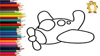 Раскраска для детей САМОЛЁТ. Мультик - Раскраска. Учим цвета.