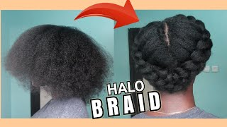HOW TO: Halo Braid on Stretched Natural Hair | No Added Extensions