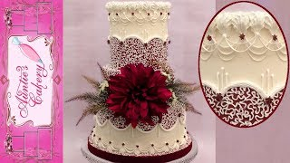 Maroon Cornelli Lace Wedding Cake