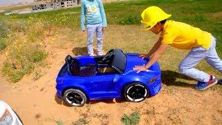 Elias ride on children's car and stuck in the ground /الياس يقود على سياره الاطفال وعلق بالارض