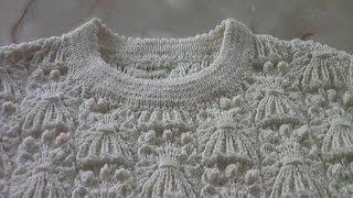 Обработка горловины спицами.🌹Обвязка горловины с кетёвкой.Вязание
