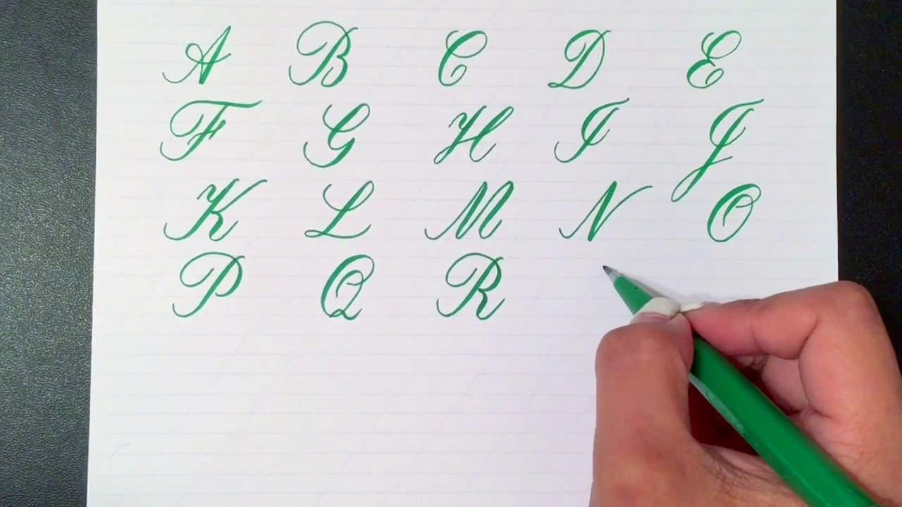 Writing the copperplate calligraphy alphabet with a pentel