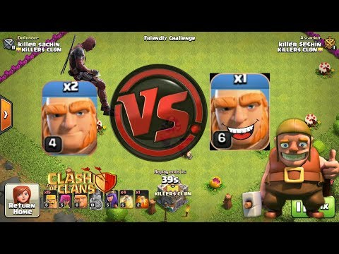 Two Lvl 4 Giants VS ONE LVL 6 GIANT..insane (CLash Of Clans)