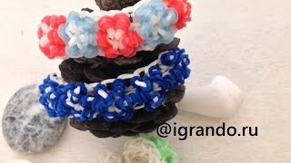 Как плести Браслет Цветы из резинок Rainbow Loom видео урок | How To Make Loom Flower Bracelet