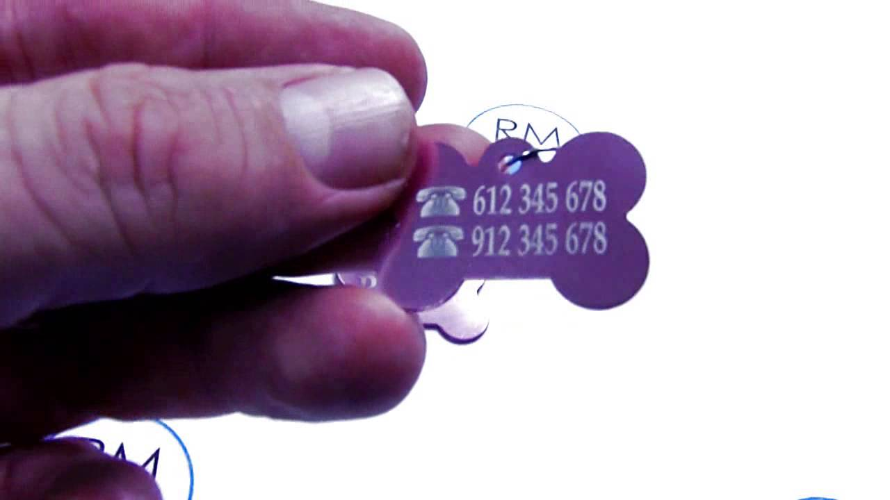 Chapa Placa de identificación rosa para collar perros grabado con nombre y teléfono