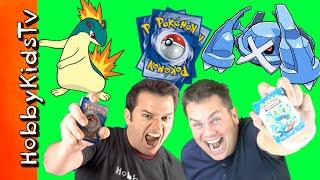 Pokemon Trading Card Game! HobbyDad vs HobbyGuy with Fire and Electric Decks HobbyKidsTV
