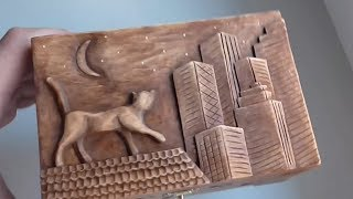 Wood Carved Jewelry Box With Cat On The Roof | Handmade Art