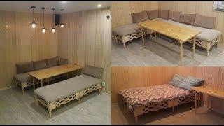 Универсальный диван кровать из балясин для дачи своими руками homemade sofa