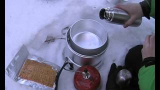Testing Trangia stove and gas burner in -15°C