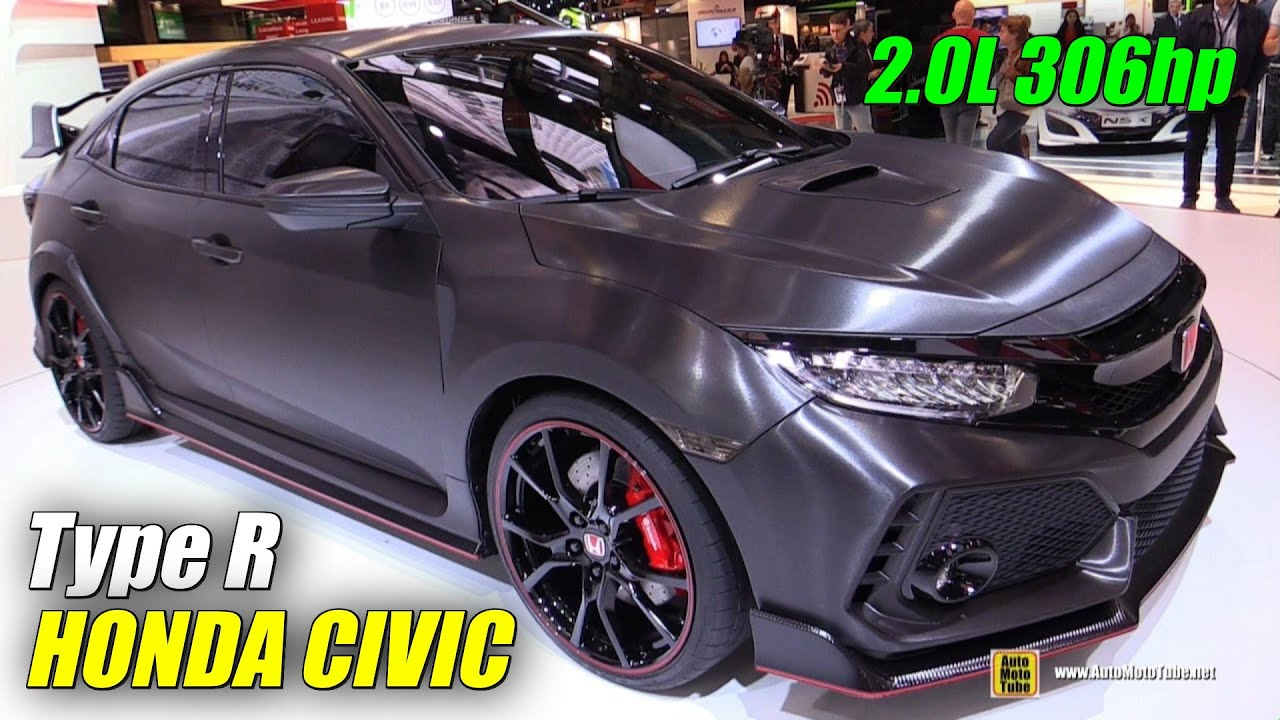 2018 Honda Civic Type R Prototype - Exterior Walkaround - Debut at 2016 Paris Motor Show - YouTube