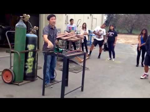 Acetylene and oxygen burning through metal