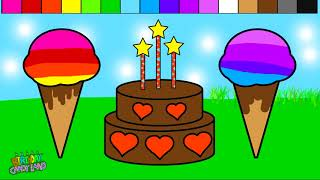 Color Ice Cream Heart Birthday Cake Coloring Pages for Kids and Learn Colors!