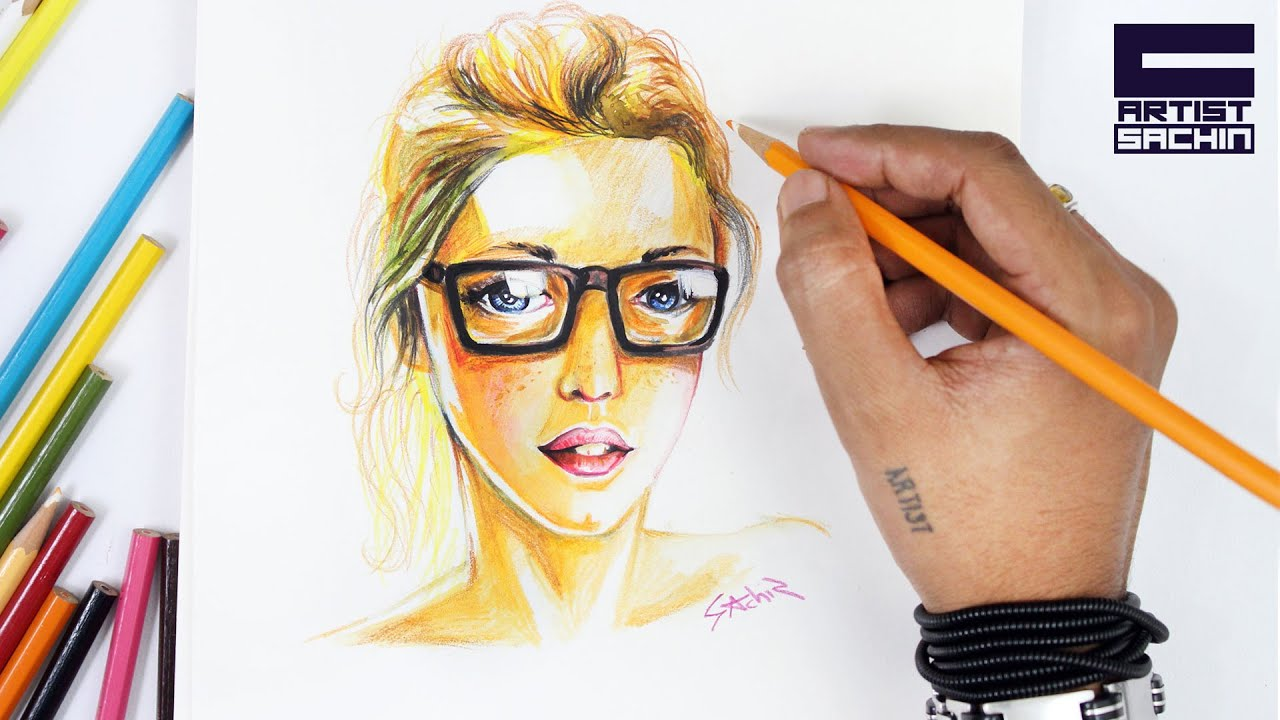 Watercolor pencil portrait girl with goggles