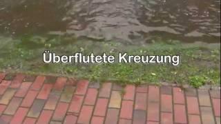Überflutete Kreuzung in Freest / Mecklenburg Vorpommern