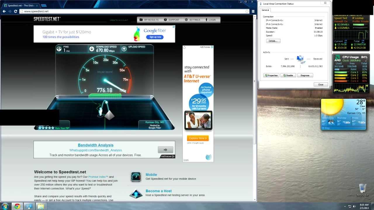 Google Fiber Speed Test - Feb. 2013 - YouTube