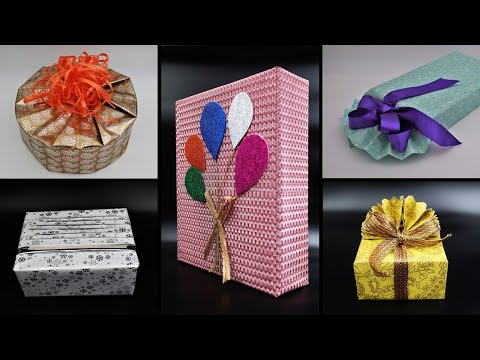 5 SIMPLE DIY GIFT WRAP IDEAS PAPER CRAFTS | DIY GIFT WRAPPING CREATIVE IDEAS/CIRCULAR GIFT WRAPPING