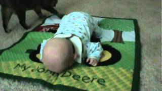 Tummy Time on John Deere mat