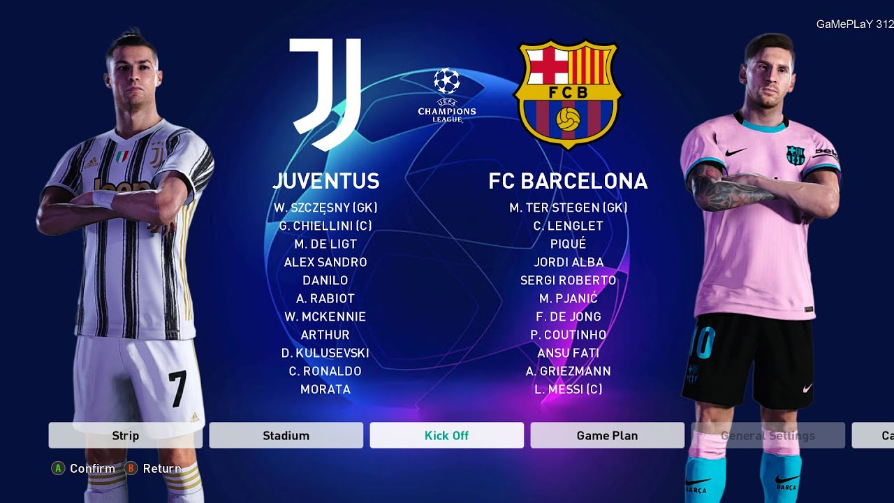 Pes 2021 Juventus Vs Barcelona Uefa Champions League Ucl Gameplay Pc C Ronaldo Vs L Messi Youtube