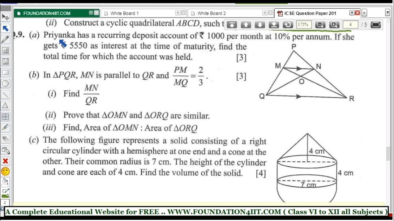Class 10 Maths ICSE Question Paper 2018 || Q No  9 ||