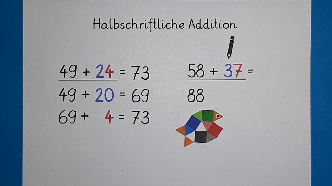 Halbschriftliche Addition Teil 200 / Mathe Klasse 20 / Plusaufgaben rechnen