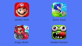 Super Mario Run, Sonic Dash, Angry Birds Go!, Zombie Tsunami [iOS Gameplay]