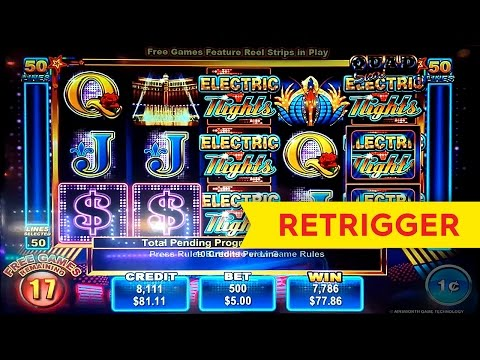 Electric Nights Slot - $5 Max Bet - RETRIGGER FRENZY! - 동영상