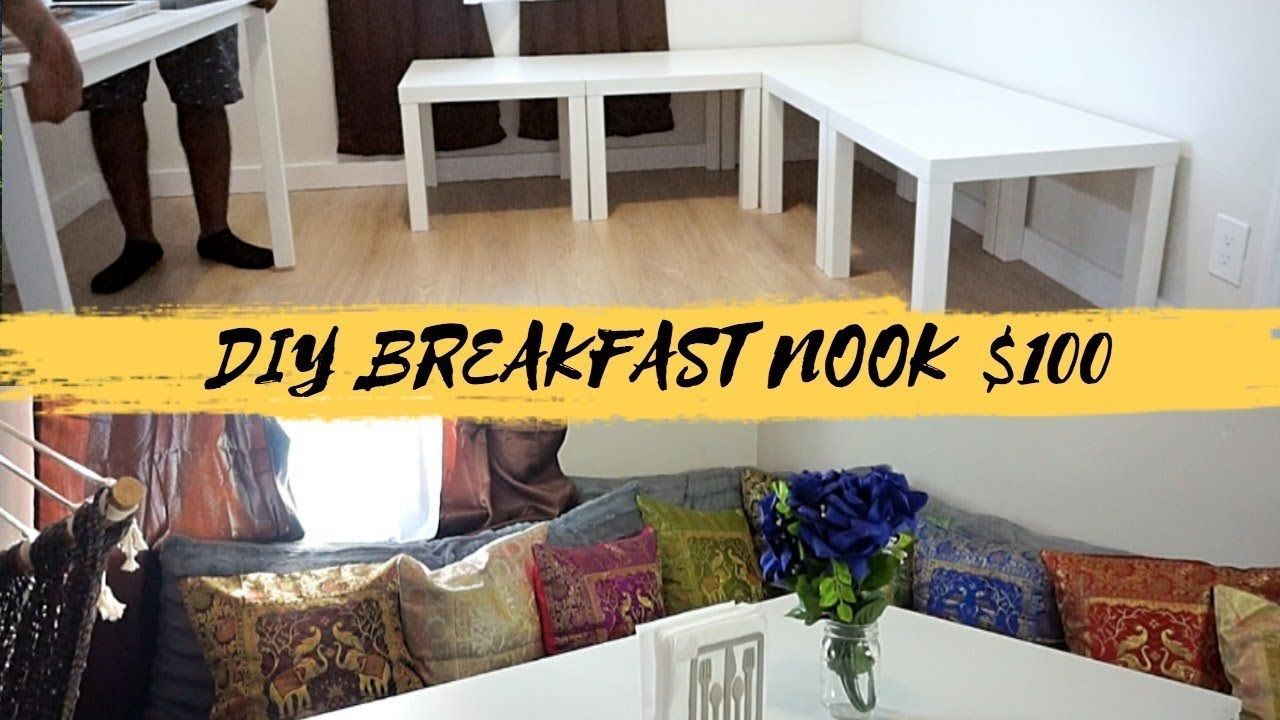DIY BREAKFAST NOOK, CHEAP SEAT CUSHIONS & DECORATIVE PILLOWS $100