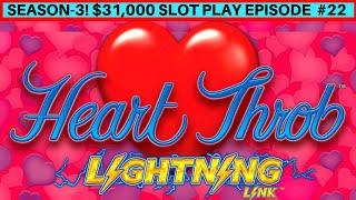 Lighting Link Hearth Throb Slot BIG WIN & Lighting CASH High Stakes Live Play |Season 3| EPISODE #22