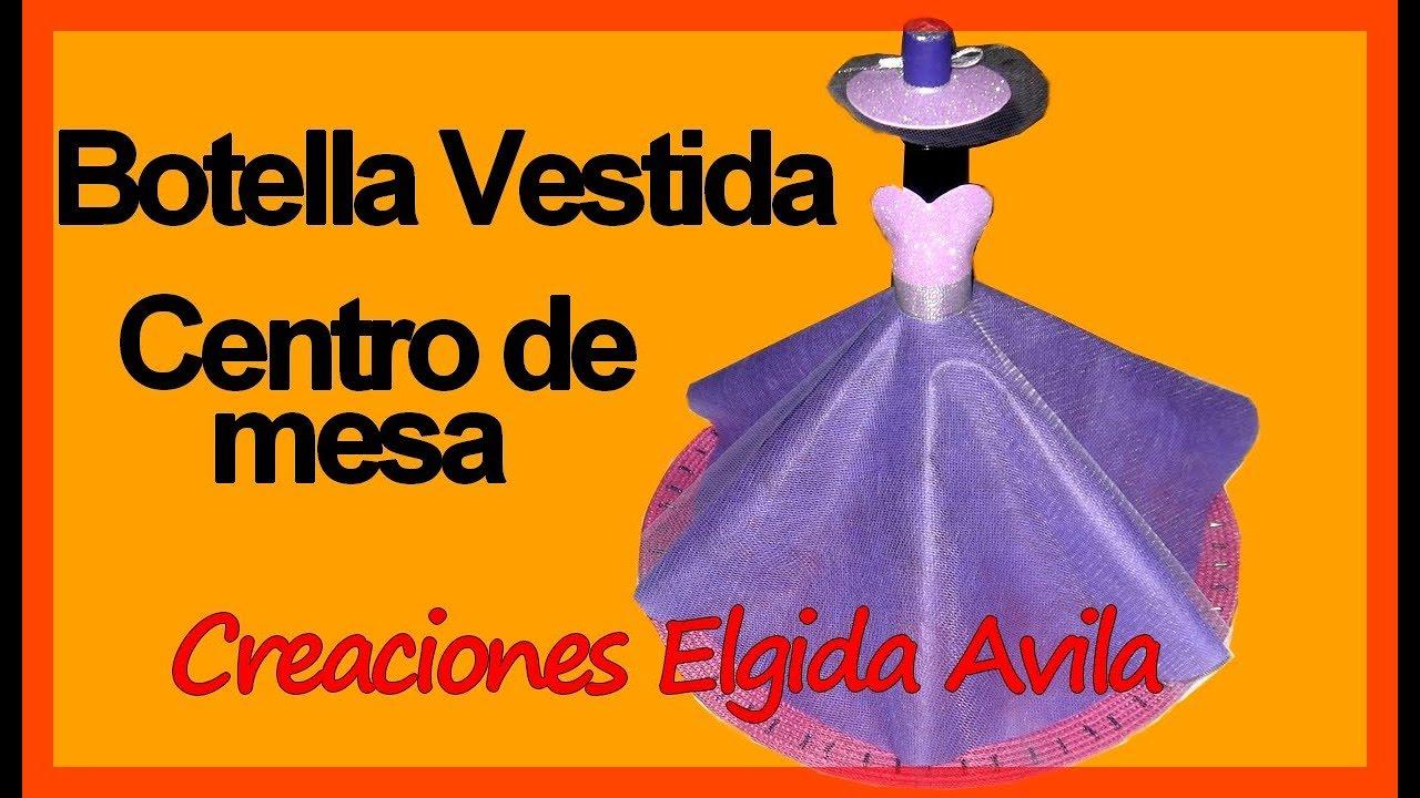 Centro de mesa botella vestida 15 a os youtube for Mesas decoradas para 15 anos