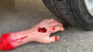 Experiment Car vs Hand Halloween | Crushing crunchy & soft things by car | Test Ex