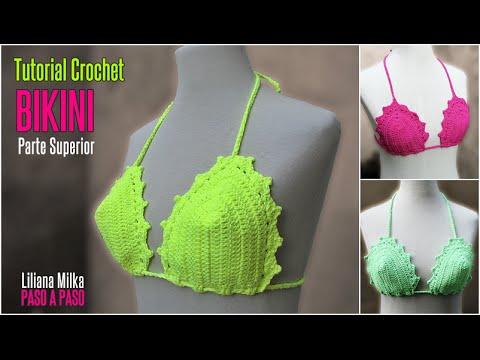 df764f66d753 Como hacer un Bikini a crochet, parte superior, en todos los talles