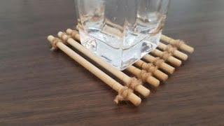 [DIY] 버려지는 나무젓가락으로 컵받침, 냄비받침 만…
