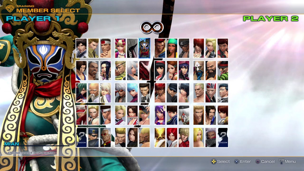 The King of Fighter XIV character select updated