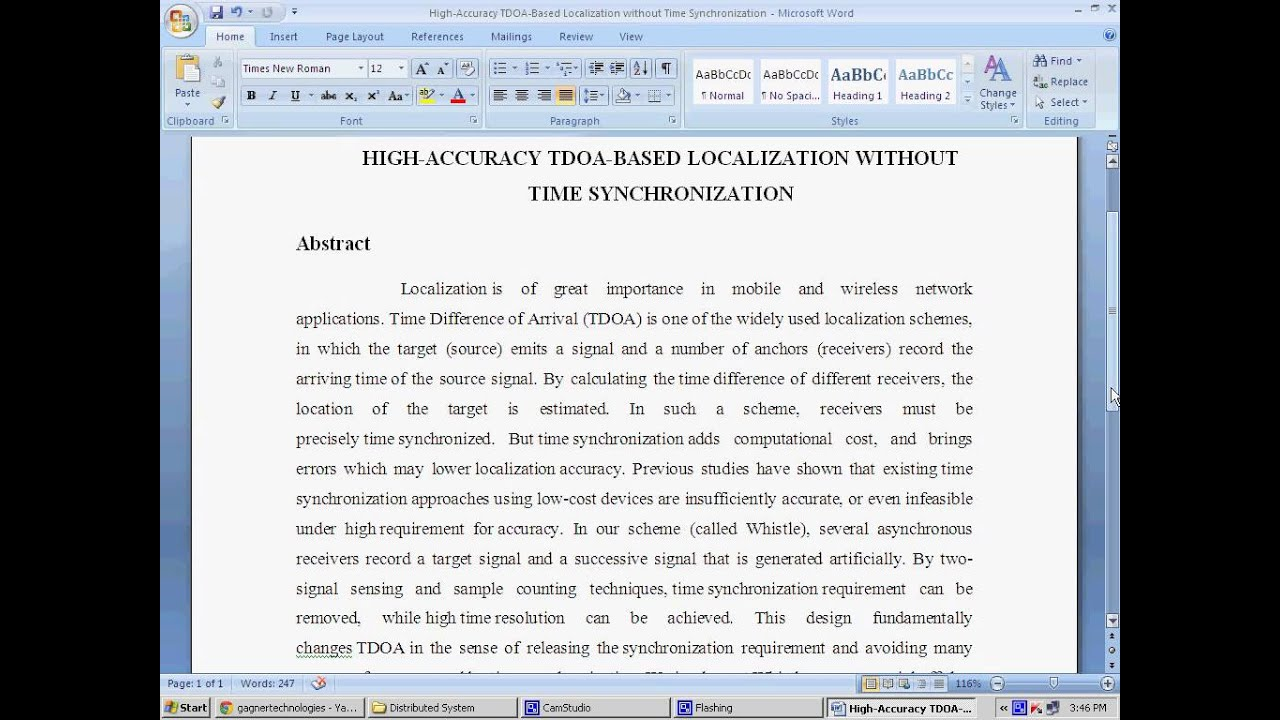 HIGH ACCURACY TDOA BASED LOCALIZATION WITHOUT TIME SYNCHRONIZATION