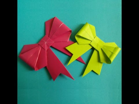 Origami -  Cách làm cái nơ giấy - how to make a bow