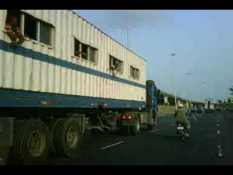 Company transport using a modified container in Lagos Nigeria